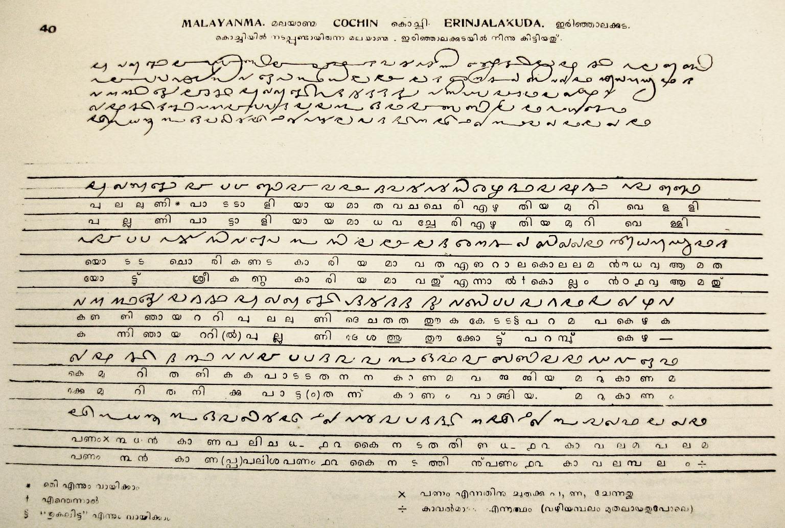 Malayanma Cochin Erinjalkuda script